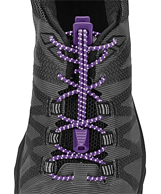 Nathan No-Tie Locking Run Laces - Reflective Purple Magic