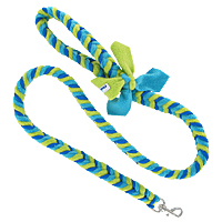 Fishbone Braided Fleece Tug Leash - Ocean Waves, 4'