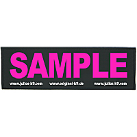 Custom Julius K9 Harness Labels - Pink on Black