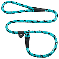 Mendota British-style Slip Leads - Black Ice Turquoise, 6 ft.