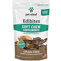 Pet Releaf CBD Hemp Oil Soft Chew Edibites - Peanut Butter & Carob Swirl, Large Breed
