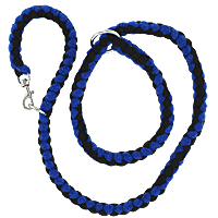 Slip or Clip Fleece Tug Lead - Blue & Black, 4ft.
