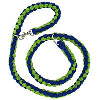 Slip or Clip Fleece Tug Lead - Blue & Lime, 4ft.