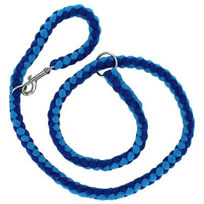 Slip or Clip Fleece Tug Lead - Blue & Turquoise, 4ft.