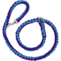 Slip or Clip Fleece Tug Lead - Purple & Turquoise, 4ft.
