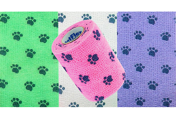 PetFlex Vet Wrap & Bandage - 2 in. wide, Paw Prints