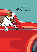 Greeting Card—Happy Birthday, Woofing Dog in Car