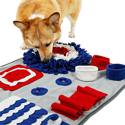 DogLemi Snuffle & Treat Pockets Mat - Blue/Red/White