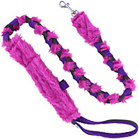Floramicato Fluffy Nyam Leash with Food Pocket - Pink Fur, 4'