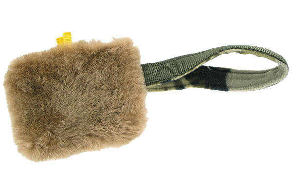 TugAway Sheepskin Reward Pouch Dog Toy