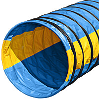 Naylor Heavy-Weight Competition Agility Tunnels - 4-meter, Light Blue with Yellow Stripes