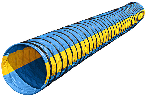 PRE-ORDER Naylor Heavy-Weight Competition Agility Tunnels - 6-meter, Light Blue with Yellow Stripes