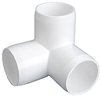 "3/4"" PVC 3-Way Elbow Fitting - White"