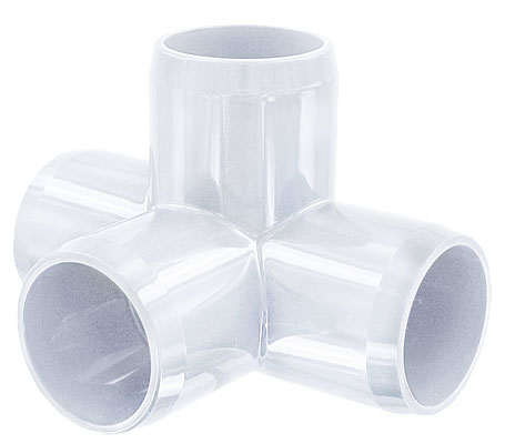 1-1/4 in. 4-Way PVC Fitting, Furniture Grade - White
