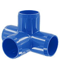 1 in. 4-Way PVC Fitting, Furniture Grade - Blue