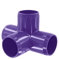 1 in. 4-Way PVC Fitting, Furniture Grade - Purple
