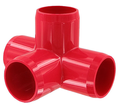 1 in. 4-Way PVC Fitting, Furniture Grade - Red