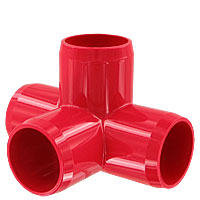 "1"" 4-Way PVC Fitting, Furniture Grade - Red"