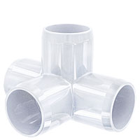 "1-1/4"" 4-Way PVC Fitting, Furniture Grade - White"