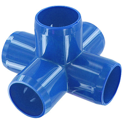 1 in. 5-Way PVC Fitting, Furniture Grade - Blue