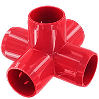 1 in. 5-Way PVC Fitting, Furniture Grade - Red