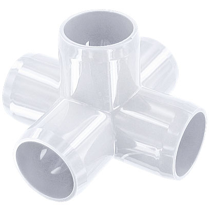 1-1/4 in. 5-Way PVC Fitting, Furniture Grade - White