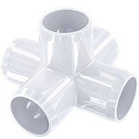 "1-1/4"" 5-Way PVC Fitting, Furniture Grade - White"