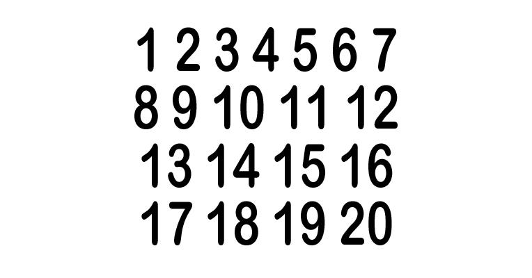 1099ccaff980 Vinyl Number Decals - Sets of 1-20 - Clean Run